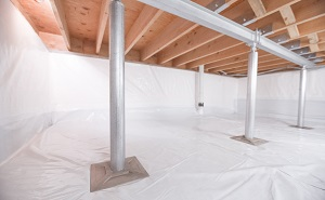 Crawl space structural support jacks installed in Fountain Inn